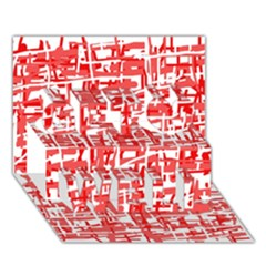 Red decorative pattern Get Well 3D Greeting Card (7x5)