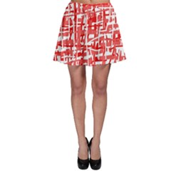 Red decorative pattern Skater Skirt