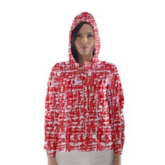 Red decorative pattern Hooded Wind Breaker (Women)