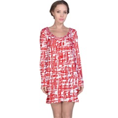 Red decorative pattern Long Sleeve Nightdress