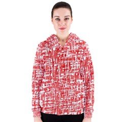 Red decorative pattern Women s Zipper Hoodie