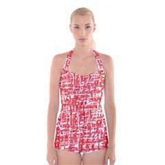 Red decorative pattern Boyleg Halter Swimsuit