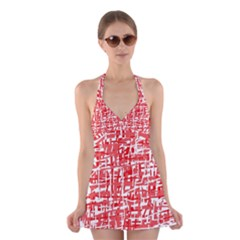 Red decorative pattern Halter Swimsuit Dress