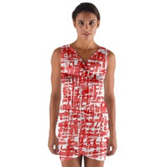 Red Decorative Pattern Wrap Front Bodycon Dress