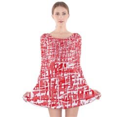 Red decorative pattern Long Sleeve Velvet Skater Dress