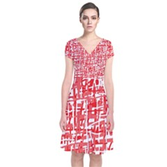 Red decorative pattern Short Sleeve Front Wrap Dress