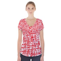 Red decorative pattern Short Sleeve Front Detail Top