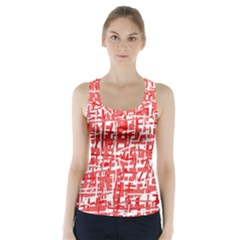 Red decorative pattern Racer Back Sports Top