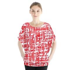 Red Decorative Pattern Batwing Chiffon Blouse