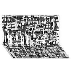 Gray pattern HUGS 3D Greeting Card (8x4)