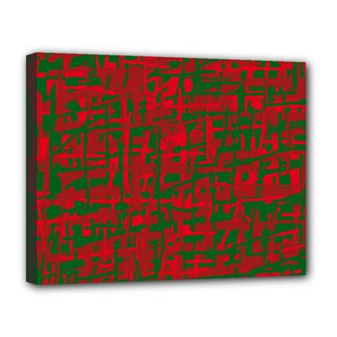 Green and red pattern Canvas 14  x 11