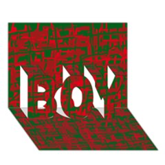 Green and red pattern BOY 3D Greeting Card (7x5)