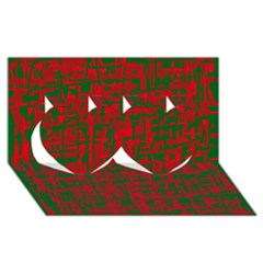 Green and red pattern Twin Hearts 3D Greeting Card (8x4)
