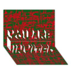 Green And Red Pattern You Are Invited 3d Greeting Card (7x5)
