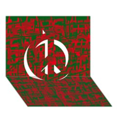 Green and red pattern Peace Sign 3D Greeting Card (7x5)
