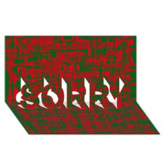 Green and red pattern SORRY 3D Greeting Card (8x4)
