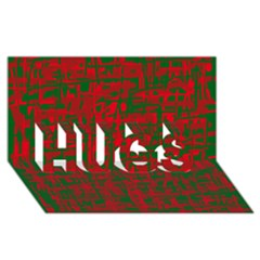 Green and red pattern HUGS 3D Greeting Card (8x4)