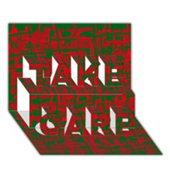 Green and red pattern TAKE CARE 3D Greeting Card (7x5)