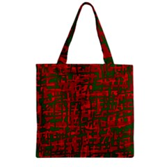 Green and red pattern Zipper Grocery Tote Bag