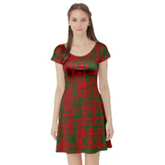 Green and red pattern Short Sleeve Skater Dress