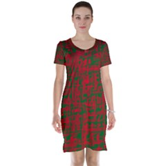 Green and red pattern Short Sleeve Nightdress