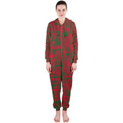 Green and red pattern Hooded Jumpsuit (Ladies)