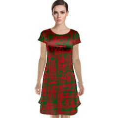 Green and red pattern Cap Sleeve Nightdress