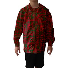 Green and red pattern Hooded Wind Breaker (Kids)