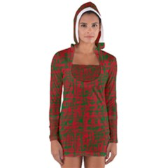 Green and red pattern Women s Long Sleeve Hooded T-shirt