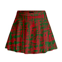 Green and red pattern Mini Flare Skirt