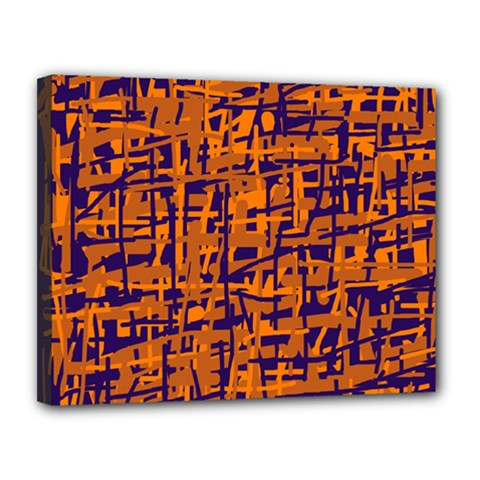 Blue and orange decorative pattern Canvas 14  x 11