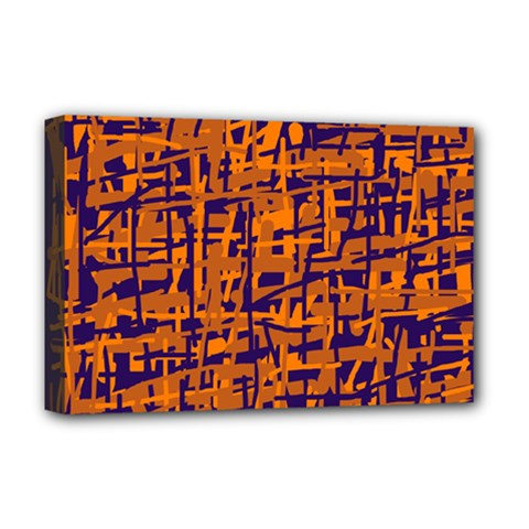 Blue and orange decorative pattern Deluxe Canvas 18  x 12