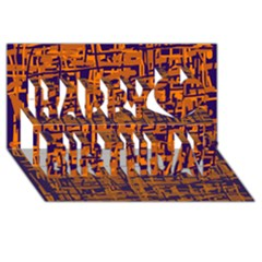 Blue and orange decorative pattern Happy Birthday 3D Greeting Card (8x4)