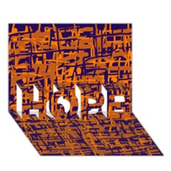 Blue and orange decorative pattern HOPE 3D Greeting Card (7x5)