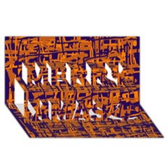 Blue and orange decorative pattern Merry Xmas 3D Greeting Card (8x4)