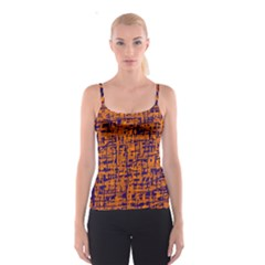 Blue and orange decorative pattern Spaghetti Strap Top