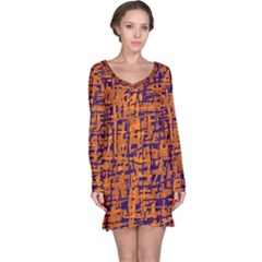 Blue and orange decorative pattern Long Sleeve Nightdress