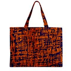 Blue and orange decorative pattern Zipper Mini Tote Bag