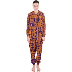Blue and orange decorative pattern Hooded Jumpsuit (Ladies)