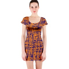 Blue and orange decorative pattern Short Sleeve Bodycon Dress
