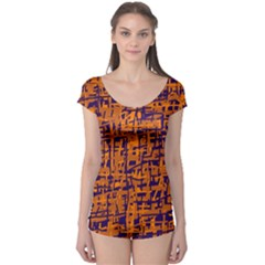 Blue and orange decorative pattern Boyleg Leotard