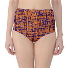 Blue and orange decorative pattern High-Waist Bikini Bottoms