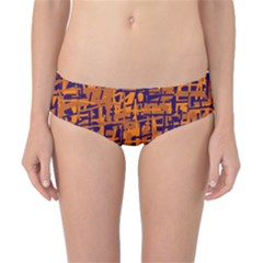 Blue and orange decorative pattern Classic Bikini Bottoms