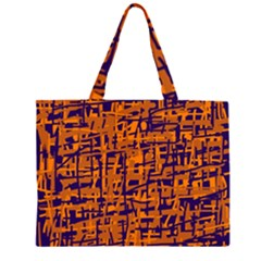 Blue and orange decorative pattern Large Tote Bag