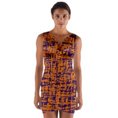 Blue and orange decorative pattern Wrap Front Bodycon Dress