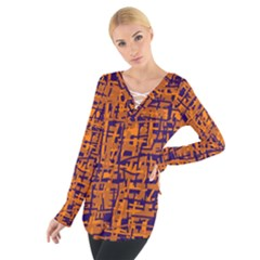 Blue and orange decorative pattern Women s Tie Up Tee