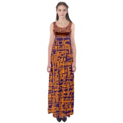 Blue And Orange Decorative Pattern Empire Waist Maxi Dress