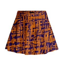 Blue and orange decorative pattern Mini Flare Skirt