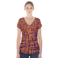 Blue and orange decorative pattern Short Sleeve Front Detail Top