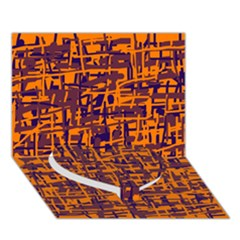 Orange and blue pattern Heart Bottom 3D Greeting Card (7x5)